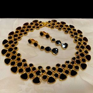 Black And Gold Choker Necklace And Earrings